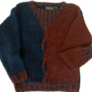 Vintage CHAMS De Baron Blue and Burundy Sweater S